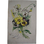c1889 PANSY Print Pansies Chromolithograph Antique Victorian
