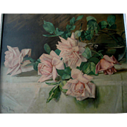 c1900 Pink Cabbage Roses Print Patty Thum Chromolithograph Original Frame Rose Flower Half  Yard Long