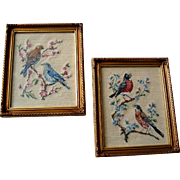 Two Bird Needlepoint Picture s Gold Frame All Original Vintage Robin Bluebird Songbird Needle Sewing Petitpoint