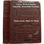 c1895 Lees Priceless Recipes Book Medical Quack Scientific  Perfume Cook Book Candy Ice Cream Beverages Household Cures Metal Farms How To Scientific