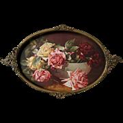 c1890 Antique Victorian Convex Glass Brass Frame Vintage Roses Print Flower Floral Rose Large