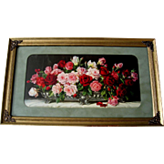 c1920 Tea Roses Print Half Yard Long Vintage Frame Cabbage Rose