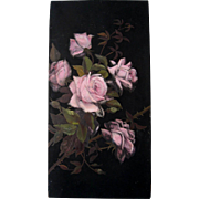 c1870s Pink Roses Oil Painting Half Yard Long Rose Flower Antique Victorian