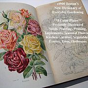 C1900 Beetons Dictionary of Every Day Gardening Book Horticulture Eight Color Plates Roses Garden Vegetable Tree Botany Antique