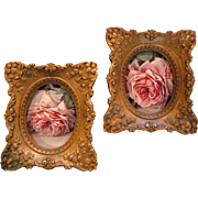 Two Roses Convex Glass Frame s Cameo Creation Ornate