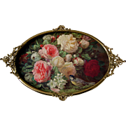 Cabbage Roses Print Jean Baptiste Robie Antique Victorian Fancy Brass Frame Convex Frame Bird Bee Snowball Hydrangea Rose Flower