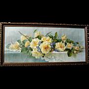 c1901 Roses Print Paul de Longpre A Cluster of Beauties Yard Long Chromolithograph Rose Violets Babbitt Soap Antique Victorian
