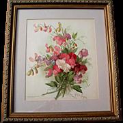 c1897 Sweet Peas Print Paul de Longpre Chromolithograph Antique Victorian Flower Floral
