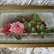 c1895 Cabbage Roses Bees Print Paul de Longpre Half Yard Long Chromolithograph Antique Victorian