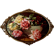 Cabbage Roses Print V Dangon Antique Brass Frame Convex Glass