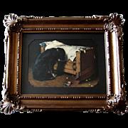 c1902 The Lost Playmate Print Deceased Child Black Labrador Dog Roses Cradle Antique