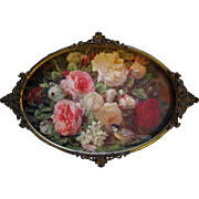 Vintage Cabbage Roses Print Fragrance in Bloom Jean Baptiste Robie Antique 1890s Victorian Fancy Brass Frame Convex Frame Bird Bee Snowball Hydrangea