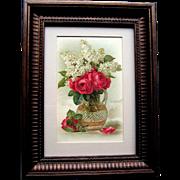 c1890's Paul de Longpre Cabbage Roses Lilacs Faceted Vase Chromolithograph Print Card Rose Flower Floral