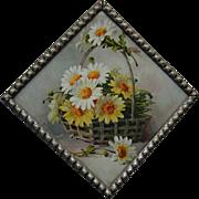 c1890s Catherine Klein Daisy Flue Cover Chromolithograph Original Frame Old Glass Flower Floral Print