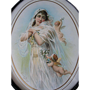 c1895 Bride Cupid Print Edouard Bisson Wedding La Fiancee Chromolithograph Original Frame Old Glass Back Intact
