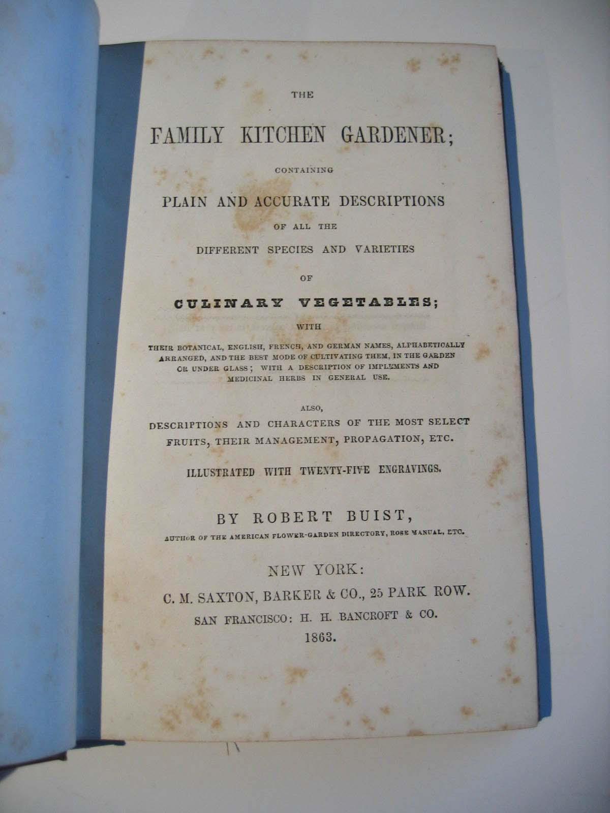 The Kitchen Gardener Antique The Family Kitchen Gardener Book Buist Civil War Vegetable