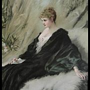 c1895 Victorian Lady Print Antique Frame Glass Koppay Half Yard Long
