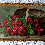 c1899 Paul de Longpre Cabbage Roses Print Basket of Beauties Bees Chromolithograph Antique Victorian