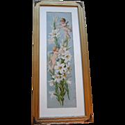 c1894 Paul de Longpre Cupid Lily Easter Greeting Print Chromolithograph Panel Yard Long Cupids Cherubs Angels Antique Victorian