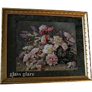 Antique c1910 Raoul de Longpre Peonies Lilacs Print Old Frame Glass