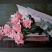 c1895 La France Pink Cabbage Roses Print Marie Koupal Lusk Half Yard Long Chromolithograph