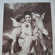 Antique French Cupid Lady Engraving Print Song of Springtime Bouguereau Paris Exposition Universelle