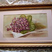 Antique Violets Print Paul de Longpre Victorian Violet Flower Floral Half Yard Long Chromolithograph
