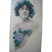 Lady Lingerie Dresser Candy Box Print Hand Painted Violets Antique Large