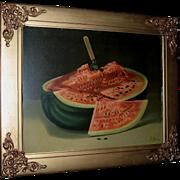 c1907 Watermelon Print Armor Chromolithograph Fruit Melon Old Frame