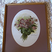 Paul de Longpre Double Violets Nosegay Print Original Glass Frame Chromolithograph Antique