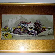 Pansies Print Paul de Longpre Spring Favorites Original Frame Mat Antique Victorian