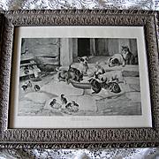 Five O Clock Tea Print Dog Cat Chicken Duck Farm W H Trood Breakfast Time Antique