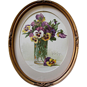 Paul de Longpre Pansies in a Glass Vase Print Chromolithograph Antique