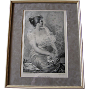 c1872 Lady Print The Rose Corcos French Antique Engraving Vintage Frame