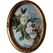 Paul de Longpre Bridal Roses and Butterfly Print in Antique Barbola Frame