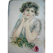 c1890s Lady Rose Print The Girl Graduate Chromolithograph