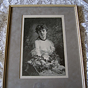 Lady Woman Print Summer Flowers Charles Chaplin French Antique Engraving Lilacs Vintage Frame