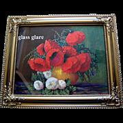Poppies Snowball Hydrangea Viburnum Print Max Streckenbach Large Vintage