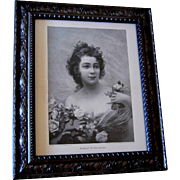 French Lady Woman Print Edouard Bisson Engraving Roses The Flower Queen Antique