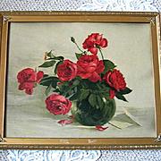 1890s Roses Print Marie Koupal Lusk Chromolithograph Antique Victorian