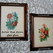 Set of Two Catherine Klein Vintage Rose Print s Original Frames Cabbage Rose Vintage