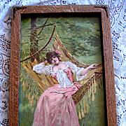 Lady Hammock Print Half Yard Long Chromolithograph Springtime Antique Victorian
