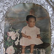 Vintage Black Americana Little Girl Photograph Negro Antique Bench Roses