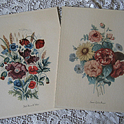 Two Vintage Flower Prints c1940