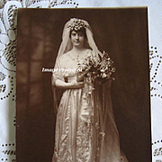 Antique Bride Wedding Photograph Sepia Large Lily of the Valley Bouquet