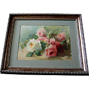 c1903 Antique Cabbage Roses Print Emma Aulich Chromolithograph