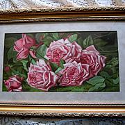 c1894 Antique Pink Cabbage Roses Print Annie Burt Half Yard Long Chromolithograph