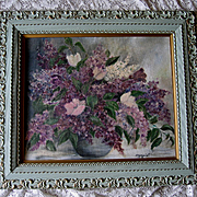 Lilacs Oil Painting Victorian Antique Frame Large French Blue Paint with Provenance