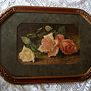 Antique Pink Cabbage Roses Print Patty Thum c1891 Half Yard Long Barbola Fancy Frame