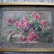 La France Pink Roses Print Antique Mortelmanns